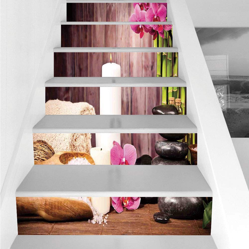 Stair Stickers Wall Stickers,6 PCS Self-Adhesive,Spa Decor,Spa Candlelight Plants Wooden Wall Sea Salt Treatment Freshness Relaxing,Stair Riser Decal for Living Room, Hall, Kids Room Decor