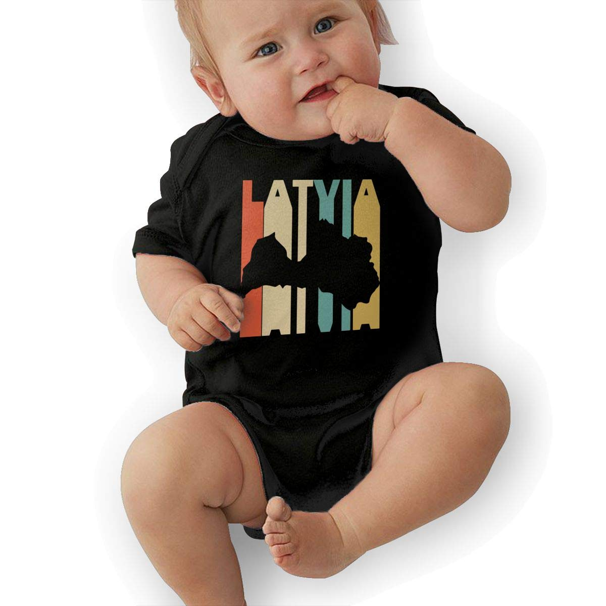 Cute Retro Style Latvia Silhouette Playsuit Short Sleeve Cotton Rompers for Baby Girls Boys