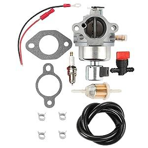 Hilom CV491 Carburetor + Fuel Filter Spark Plug for Kohler 12853107-S 12853117-S CV490 CV491 CV492 CV493 Models & Toro 74601 74603 74701 74702 Models & John Deere Sabre 17.5 Kohler Command