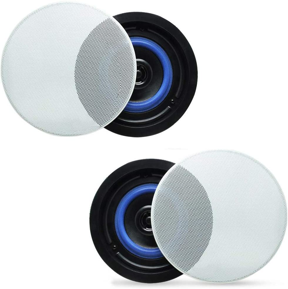 """Herdio 4"""" HCS418 160 Watts 2 Way Flush Mount in Ceiling in Wall Speakers Perfect for Bathroom, Kitchen,Living Room,Office(A Pair)"""
