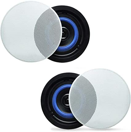 Kitchen,Bedroom,Covered Porches A Pair Herdio 4 Inches Flush Mount 2 Way Full Range Stereo in Wall Ceiling Bluetooth Speakers,Perfect for Humid Indoor Outdoor Placement Bath Renewed