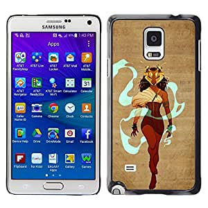 GOODTHINGS Funda Imagen Diseño Carcasa Tapa Trasera Negro Cover Skin Case para Samsung Galaxy Note 4 SM-N910F SM-N910K SM-N910C SM-N910W8 SM-N910U SM-N910 - reina heroína guerrera maks mujer león