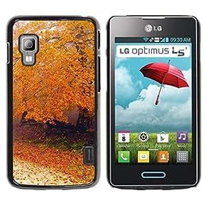 Be Good Phone Accessory // Dura Cáscara cubierta Protectora Caso Carcasa Funda de Protección para LG Optimus L5 II Dual E455 E460 // Nature Autumn Tree