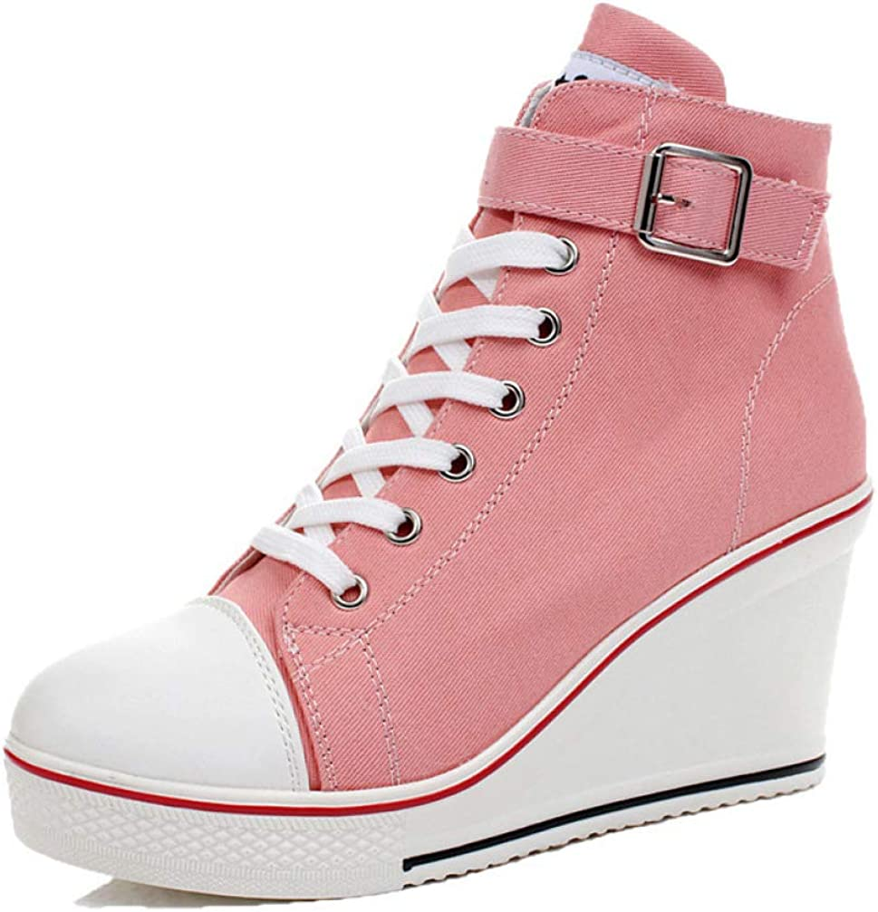 JOYBI Women Platform High Top Sneakers Lace Up Slip On Buckle Breathable Casual Wedge High Heel Canvas Shoes