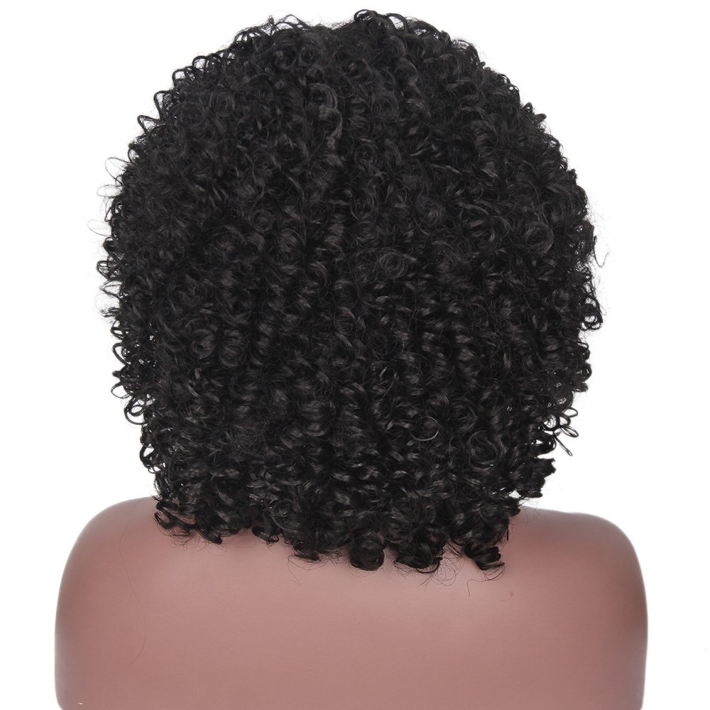 ForQueens Black Short Kinky Curly Wig Synthetic Afro Full Wigs For Black Women Heat Resistant Hair Curly Wigs With Bangs For African Women by ForQueens (Image #7)