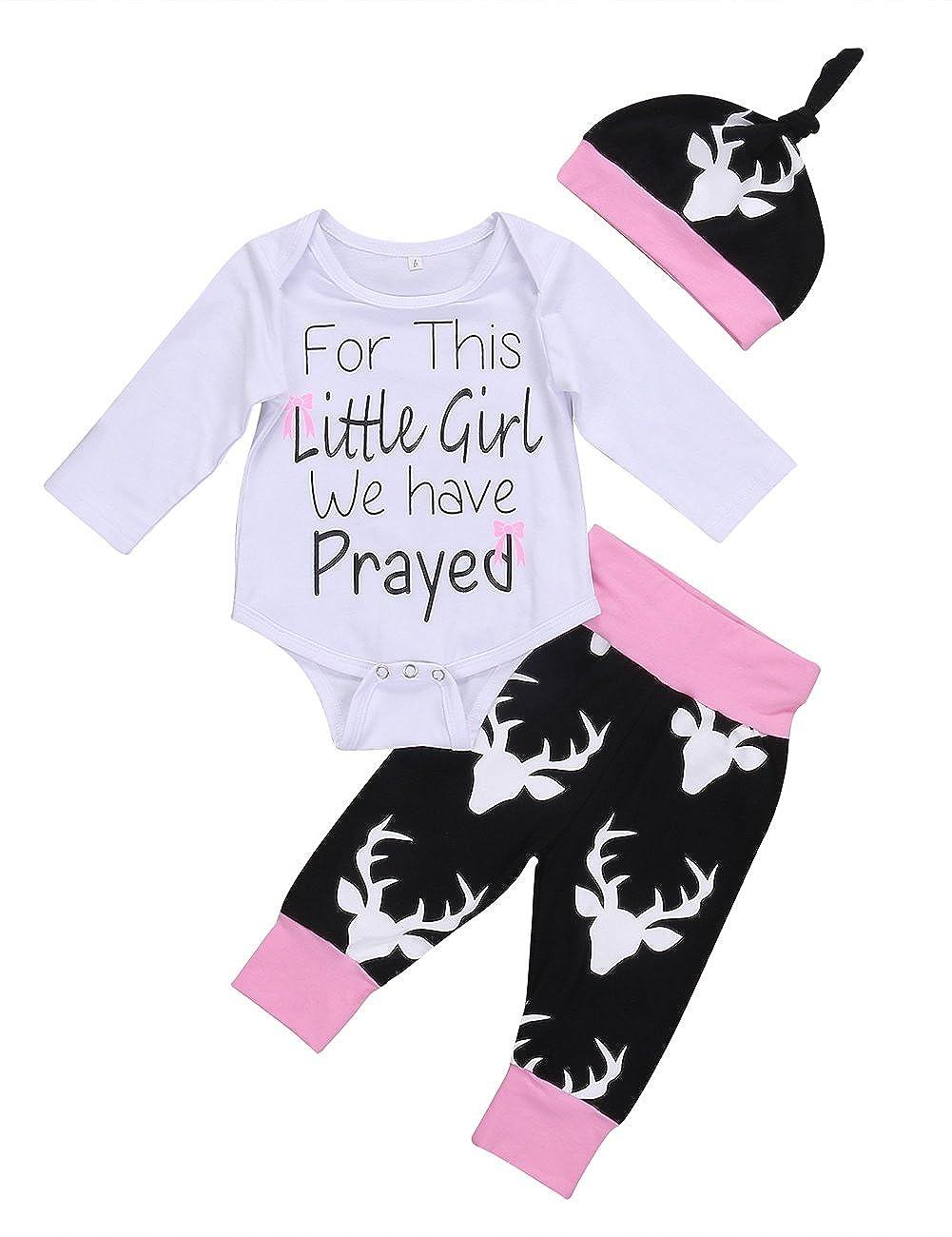 066c50cbf87 Amazon.com  Newborn Kids Baby Girls Letters Print Romper Deer Pants Hat  3Pcs Outfits Set Clothes  Clothing