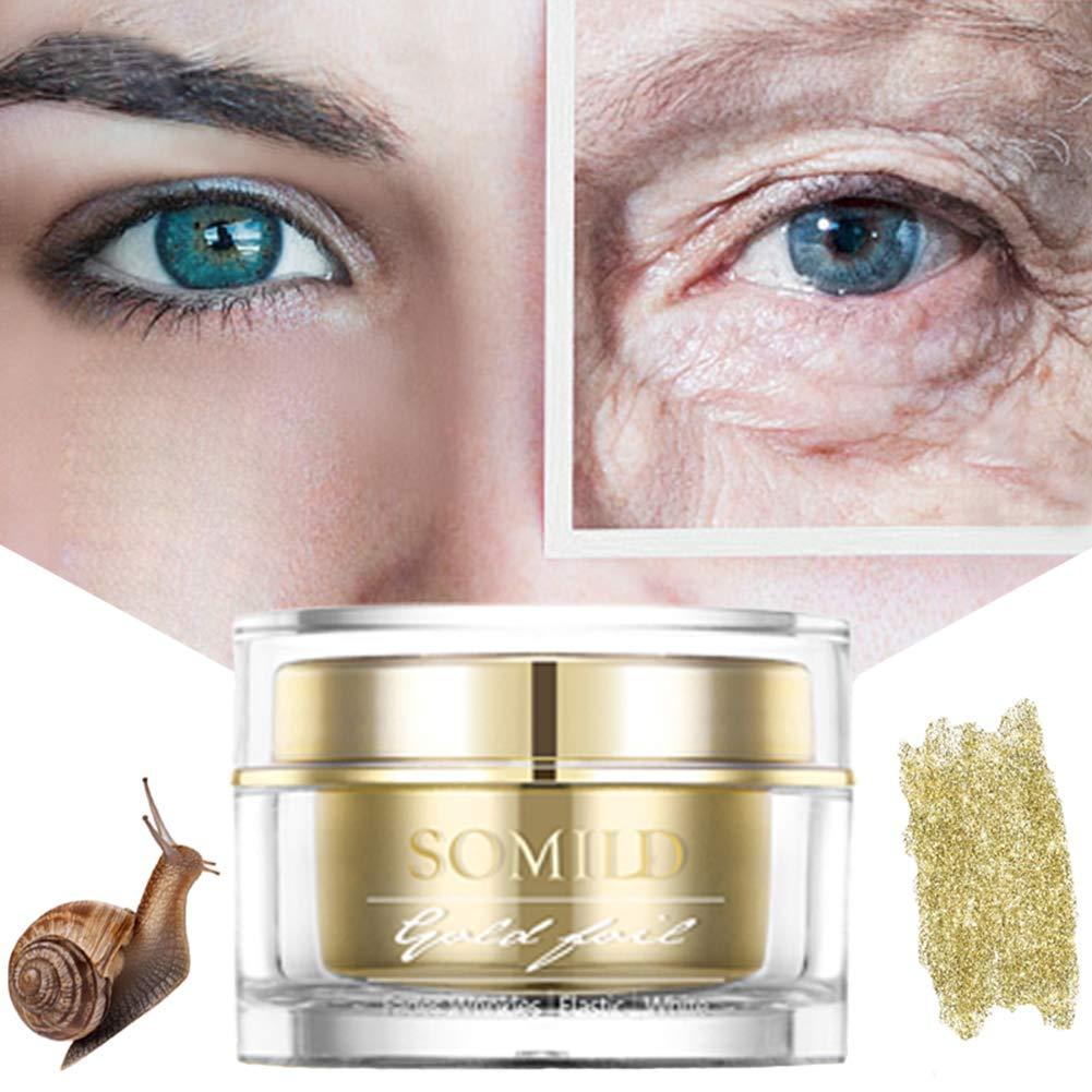 Yiitay Gold Foil Snail Cream Moisturizing Smooth Fine Lines Anti-Wrinkles Firming Skin Day and Night Face Moisturizer with Snail Mucin Extract Anti-Aging Facial Cream