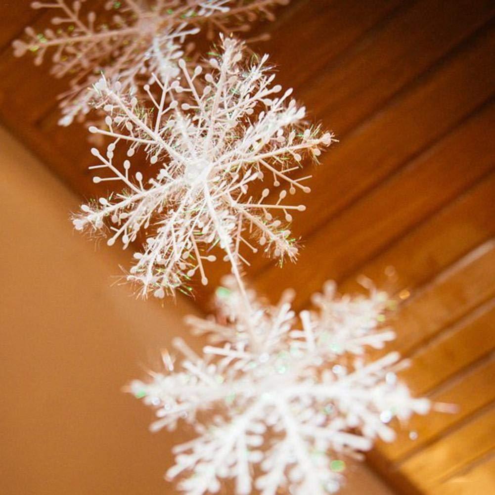 Adminitto88 Ornements De Flocon De Neige De Paillettes De Noël Décorations d'arbre De Noël avec des Ornements De Flocons De Neige en Plastique Blancs pour La Décoration De Noël
