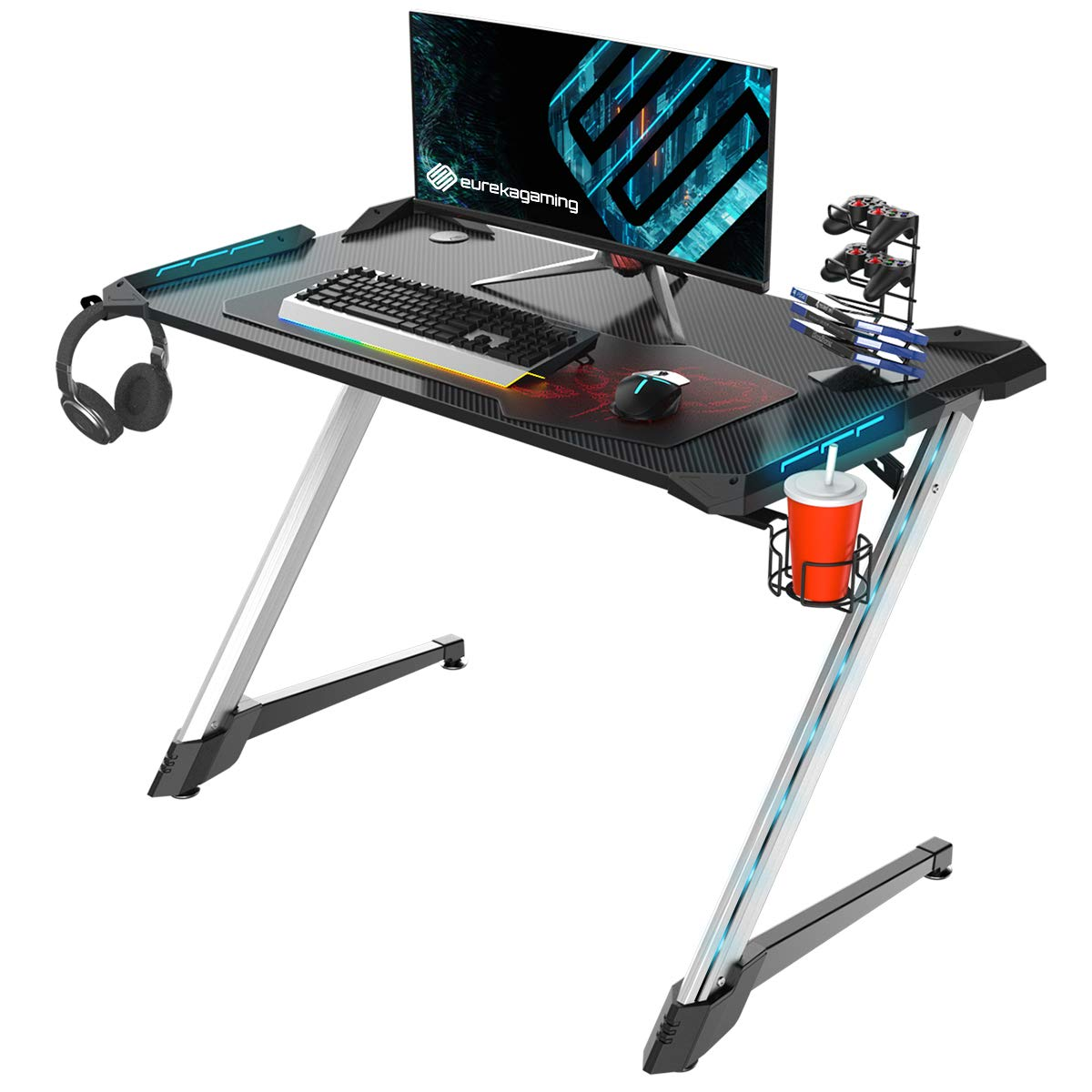 EUREKA ERGONOMIC Z1S PRO Gaming Computer Desk RGB LED Lights 44.5 inch Z Shaped Home Office PC Gaming Desks Table with Cup Holder Headset Hook & Mouse Pad, Sliver