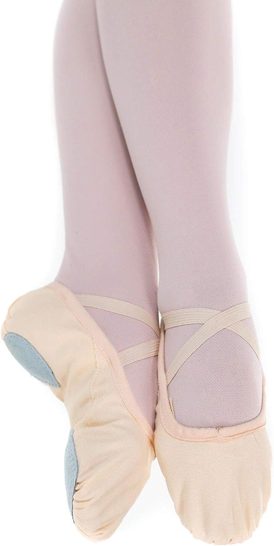 Baiwu Canvas Ballet Slipper for Women Girls Split Sole Ballet Shoes