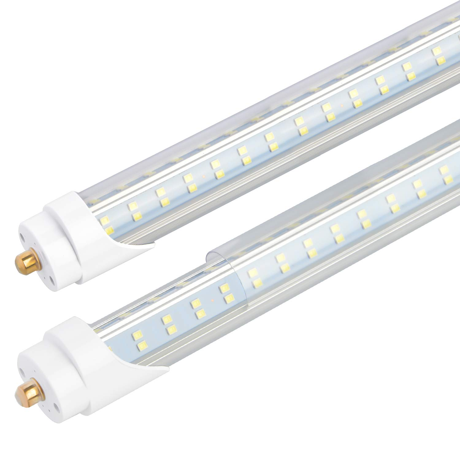 T8 T10 T12 8ft LED Tube Dual-End Powered Single Pin FA8 Base,Double sided 4 Rows 270 Degree V Shaped 768 LED Chip Bulbs 96 120W 6500K 12200 Lumens,Clear Cover Ballast Bypass,12PCS