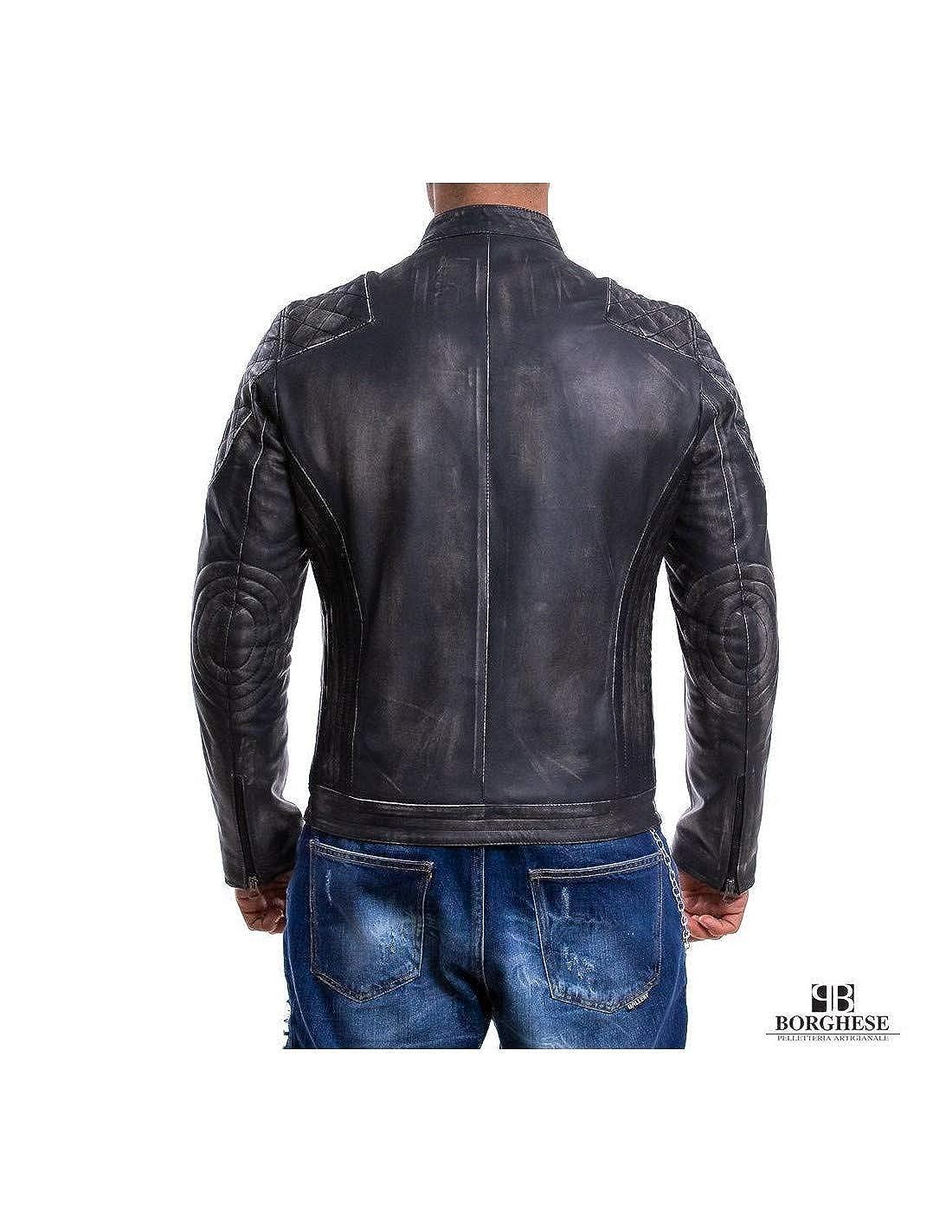 A244ASPG Giacca in pelle moto motociclista vera pelle vintage grigio