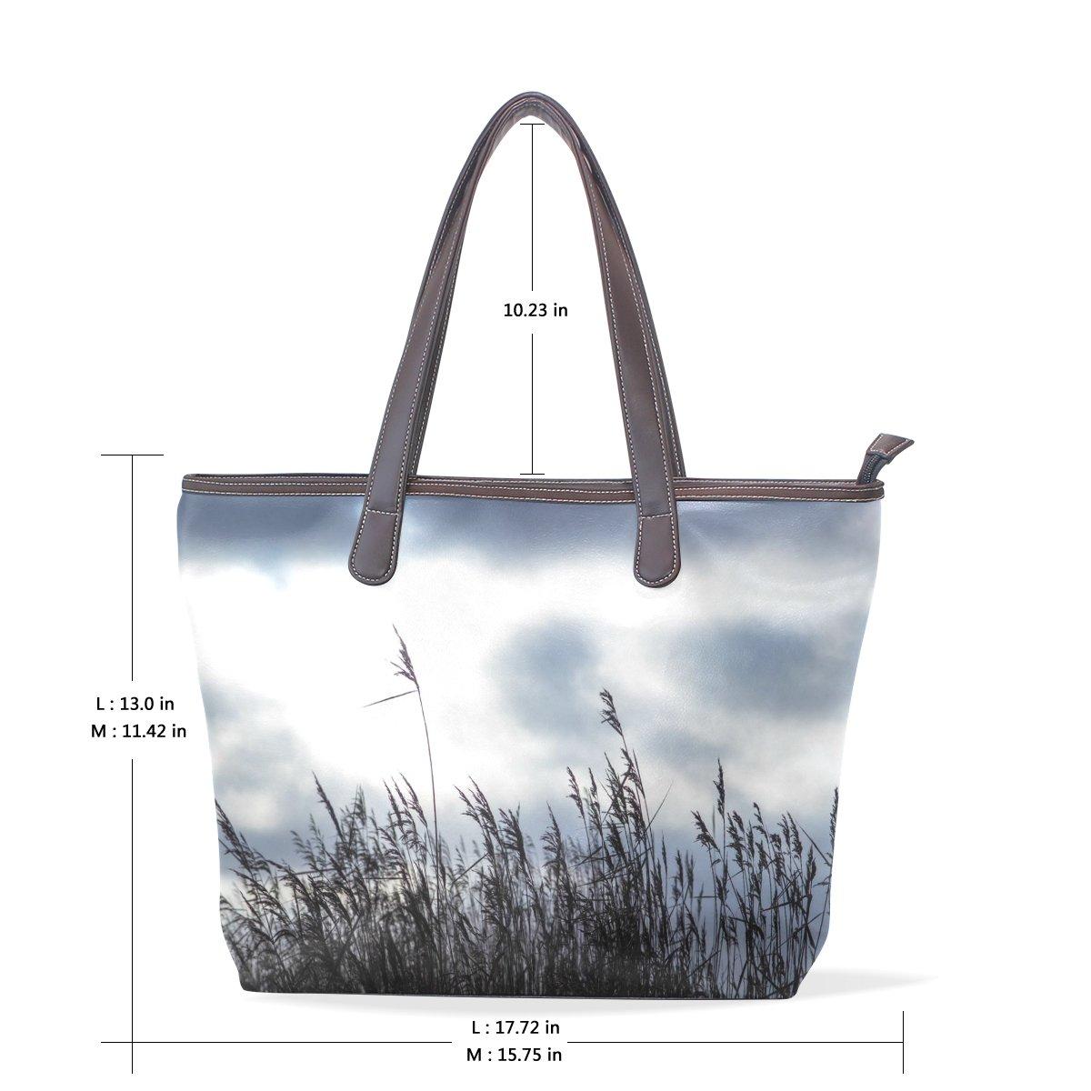SCDS Reed PU Leather Lady Handbag Tote Bag Zipper Shoulder Bag