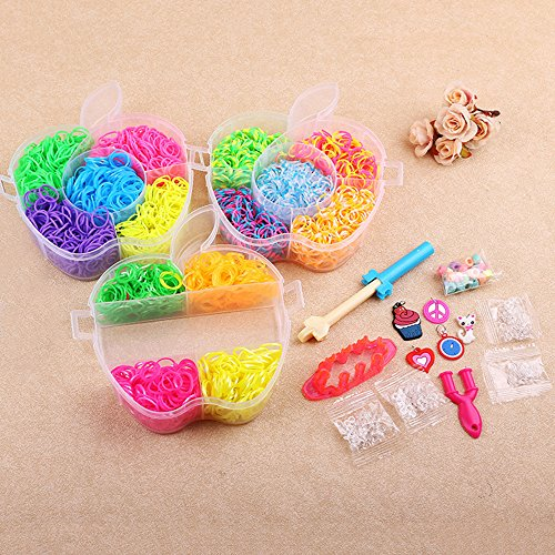 Flee Colorful Rubber Band Bracelets Over 2500 Rainbow Color Loom Bands 14 Beautiful Colors Refill Kit Fun DIY for Kids with Storage Case