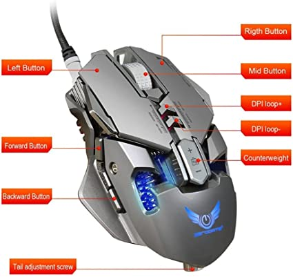 Grey Insaneness ZERODATE X300GY USB Wired 4000dpi 7 Buttons Optical Gaming Mouse Adjustable Size to Weight