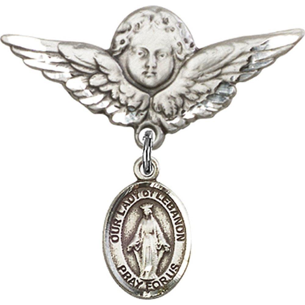 スターリングシルバー製 ベビーバッジ レバノンの聖母チャームと天使 翼バッジピン付き 1 1/8 X 1 1/8インチ   B00PQ87D9C