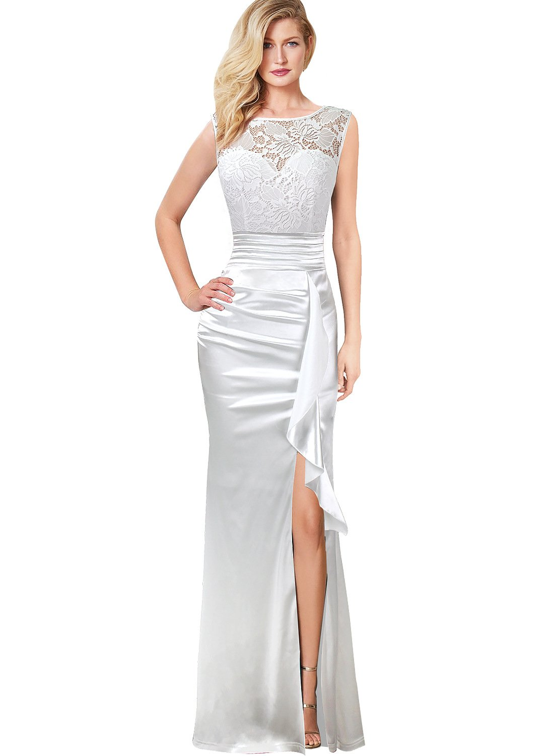 VFSHOW Women Floral Lace Ruched Ruffle Slit Prom Evening Wedding Maxi Dress 662 WHT S by VFSHOW