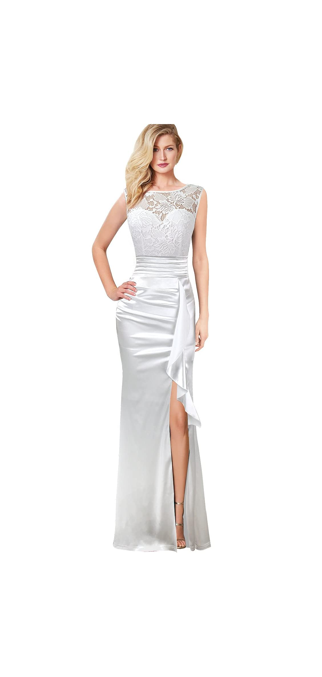 Womens Formal Ruched Ruffles Evening Prom Wedding Party