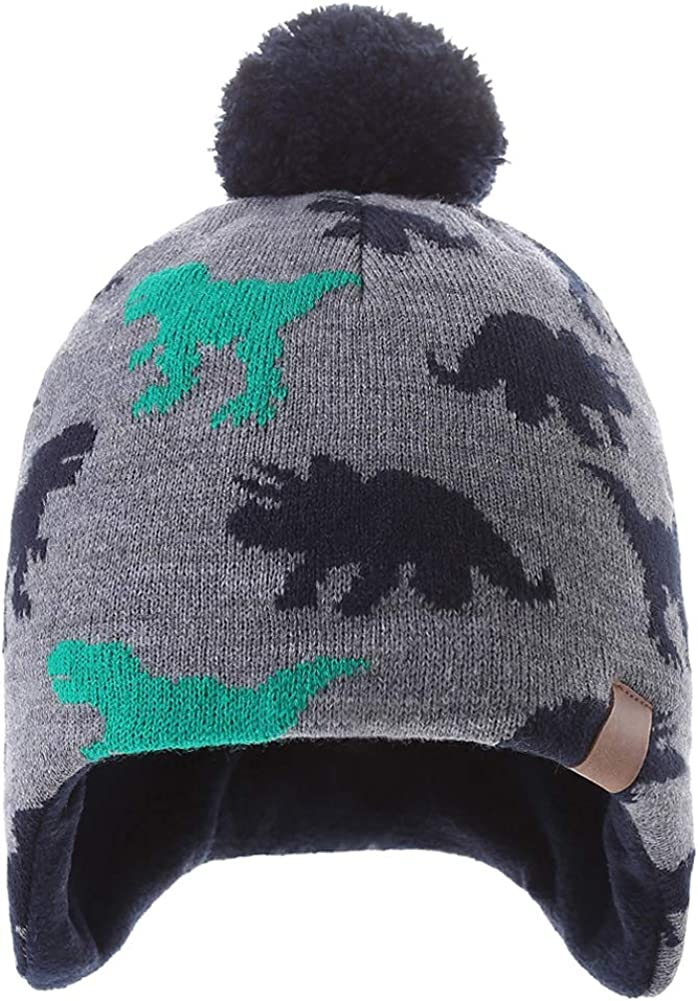 Boys Winter Hat Knitted Earflaps Hat Children Thicken Fleece Lining Cap