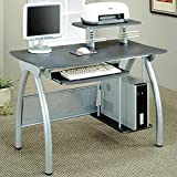 Cheap Coaster 800442 Contemporary Computer Desk with Keyboard Tray and Computer Storage, Silver