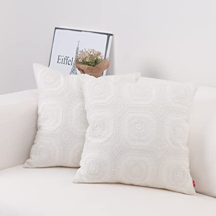 Cool Baibu Embroidered Cushion Cover Unique Pattern Designs Throw Pillow Cover Beige White 1Pc Andrewgaddart Wooden Chair Designs For Living Room Andrewgaddartcom