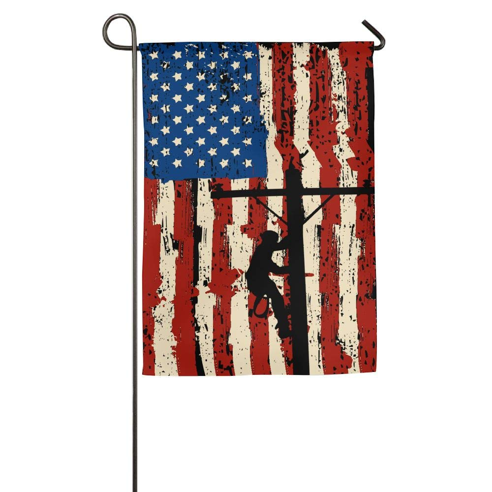 CbLLS1 American Power Lineman Garden Flag Game Flag Only One Side 12'' 18''&18'' 27'' Weather Resistant Suitable For Any Yard Or Garden by CbLLS1 (Image #1)