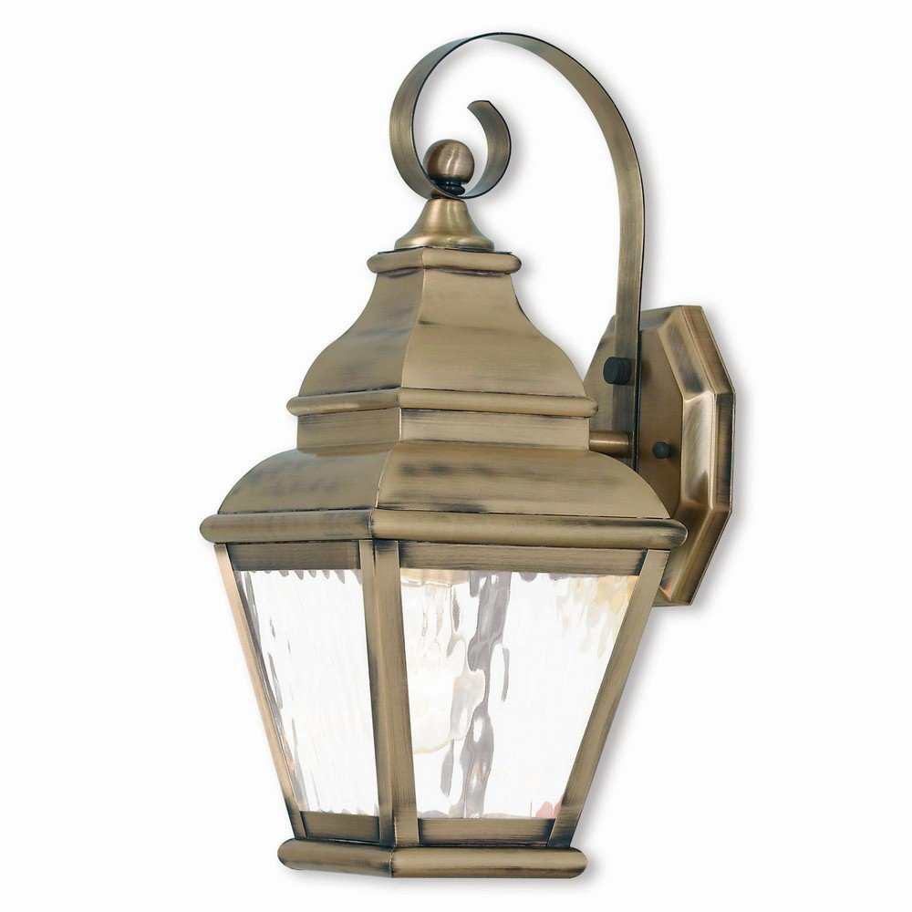 Livex Lighting 2601-01 Exeter 1 Light AB Outdoor Wall Lantern, Antique Brass