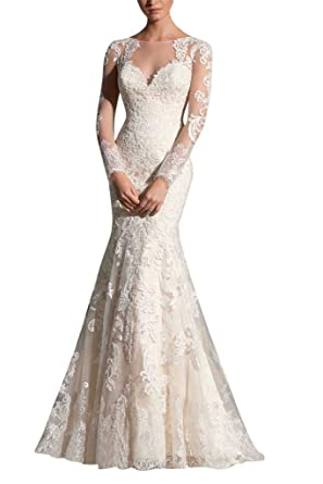 MILANO BRIDE Gorgeous Bridal Wedding Dress Long Sleeves Mermaid Floral Applique 2 Pure White
