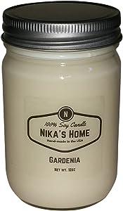 Nika's Home Gardenia Soy Candle - 12oz Mason Jar