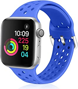 XFYELE Compatible with Apple Watch Band 38mm 40mm, Soft Breathable Sport Silicone Replacement Strap Compatible for iWatch Series 6, 5, 4, 3, 2, 1 for Women and Men (Sapphire Blue, 38mm/40mm)