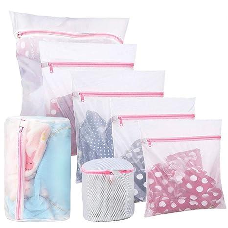 LAAT Bolsas para Lavadora, Bolsa de lavandería de Malla, Paquete de 7 Bolsas de Lavado con Cremallera para Lavadora,