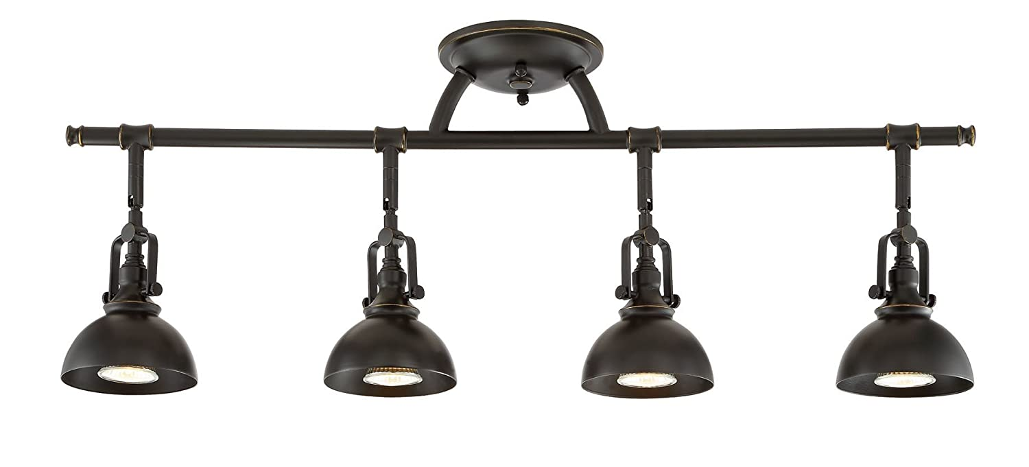 "Kira Home Broadway 30"" 4-Light Industrial Directional Track Light, Bronze Finish"