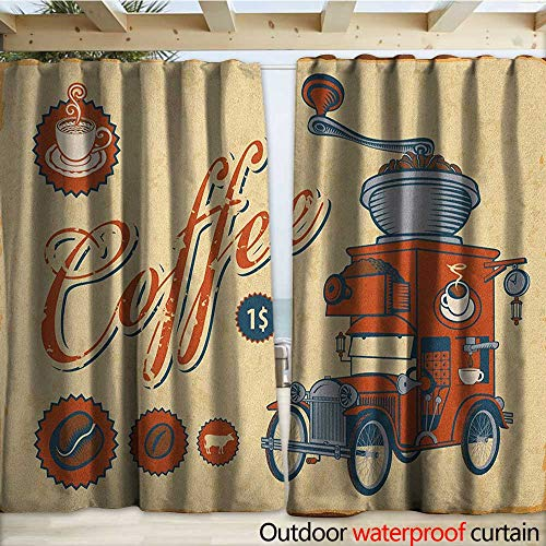 warmfamily Retro Outdoor Blackout Curtain Artsy Commercial Design of Vintage Truck with Coffee Grinder Old Fashioned W108 x L96 Cream Orange Grey