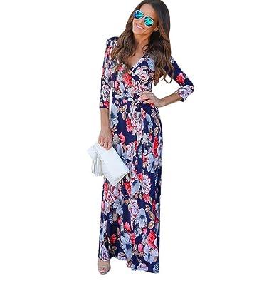 Kleider Damen Dasongff Damen Wickelkleid V-Ausschnitt Boho Lange Maxi Abend  Party Strandkleid Floral Sommerkleid ecabd127f8