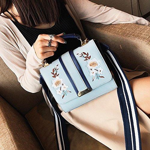 Damen Umhängetaschen, Dxlta Floral bestickte Tasche Frauen Handtaschen aus Leder Frauen Blau/Schwarz/Pink Blau