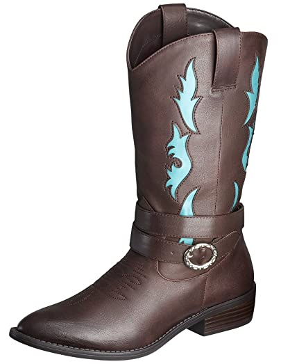 Cowboy/Cowgirl Western Boots-Tall w/Buckle; Roper Heel; Faux Leather/Blue Flames