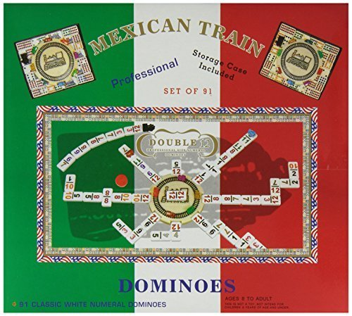 Double 12 Numeral Mexican Train Dominoes with 2-in-1 Hub by Flat River Group