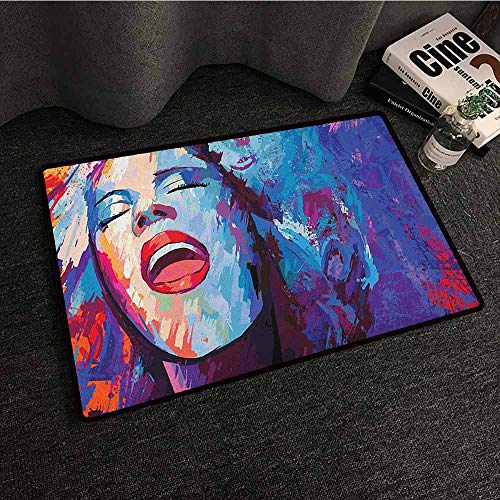 zojihouse Jazz Music Rug Mat Welcome Doormat Illustration of Singer on Grunge Background Performing Singing Woman Image W16xL24 Blue Purple Red (Best Female Blues Singers Of All Time)