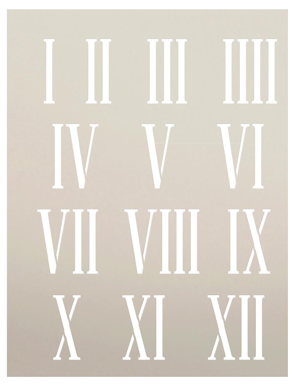 Reloj números plantilla por studior12 | Springfield números romanos elementos - pequeñas 6.625 X 15,2 cm) plantilla de Mylar reutilizable | pintura, tiza, ...