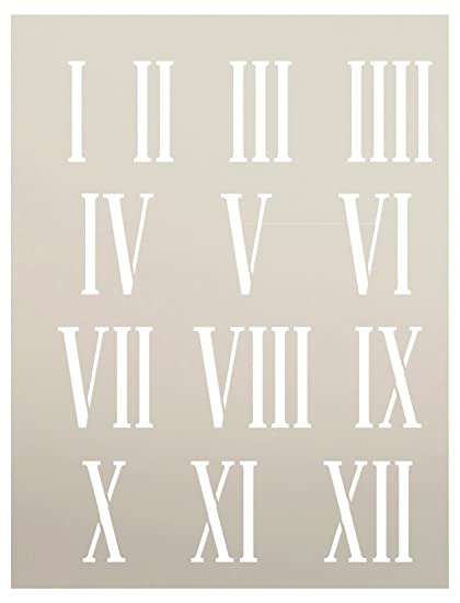 photograph relating to Roman Numeral Stencil Printable known as Clock Numerals Stencil through StudioR12 Roman Figures Variables - Reusable Mylar Template Portray, Chalk, Combined Media Hire for Journaling, Do-it-yourself Property