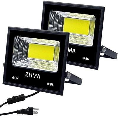 ZHMA 2 Pack 60W Led Flood Light, Outdoor Spotlight with Plug, IP66 Waterproof Work Light, 5400lm Super Bright Security Lights Outdoor, Backyard, Garage, Playground, Basketball Court [5Bkhe0804615]
