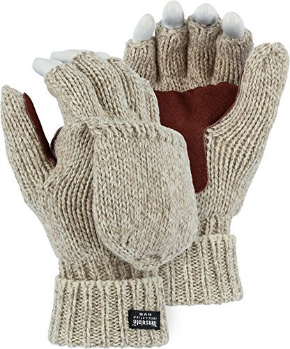 Majestic 3422P Ragg Wool Fingerless Thinsulate Gloves Warm Mittens