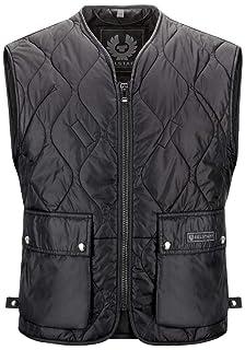 """58 Bad Company Leatherwear /""""Kai/"""" Clubweste aus Glattleder in Schwarz mit aufgesetzten Taschen f/ür Motorradfahrer und Biker Gr."""