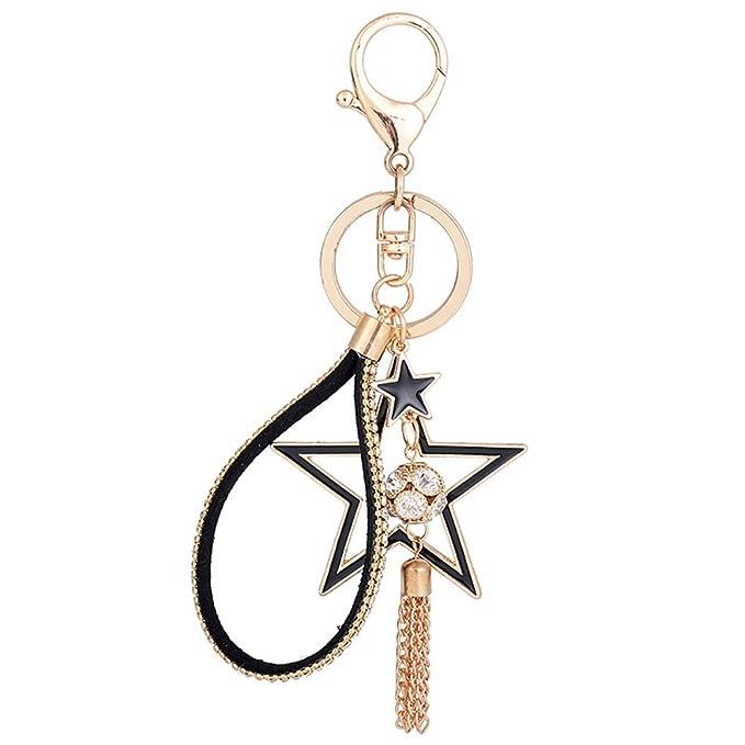 Schlüsselanhänger Taschenanhänger Geldbörse schwarz Stern