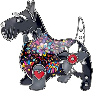NEWEI Enamel Alloy Floral Scottish Dog Brooch Pin for Women Girl Scarf Decoration Pet Ornament Jewlery Charm