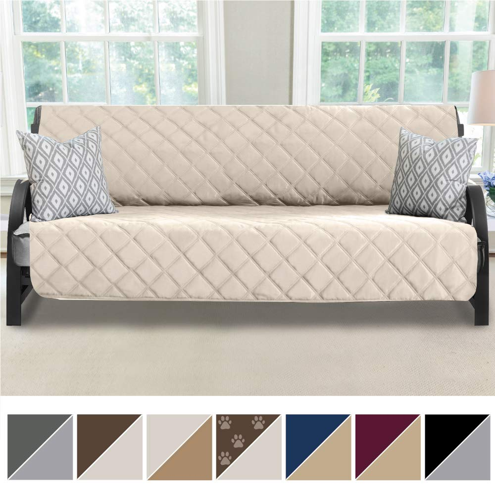 MIGHTY MONKEY Premium Reversible Futon Slipcover, Seat Width to 70'' Furniture Protector, 2'' Elastic Strap, Washable Slip Cover for Futons, Protects from Kids, Dogs, Cats (Futon: Beige/Latte)