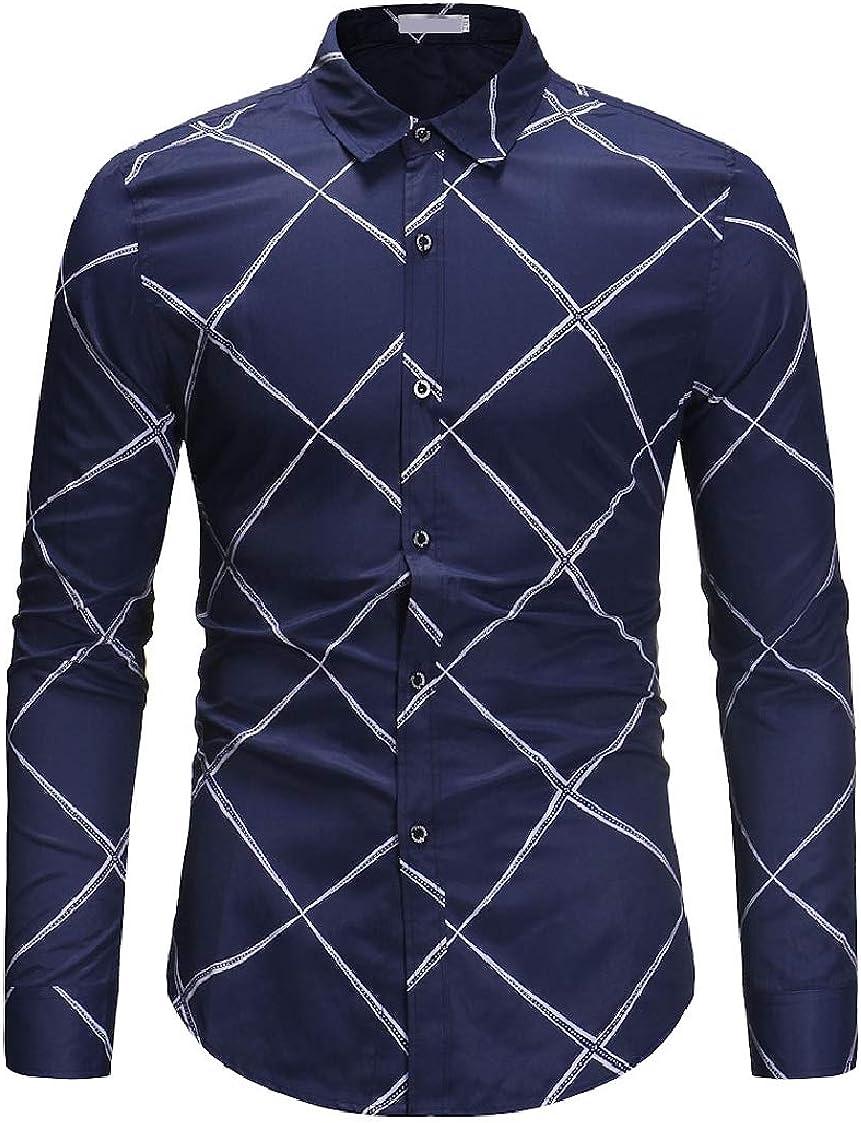 DressU Mens Square Collar Button Down Plaid Casual Long-Sleeve Dress Shirt