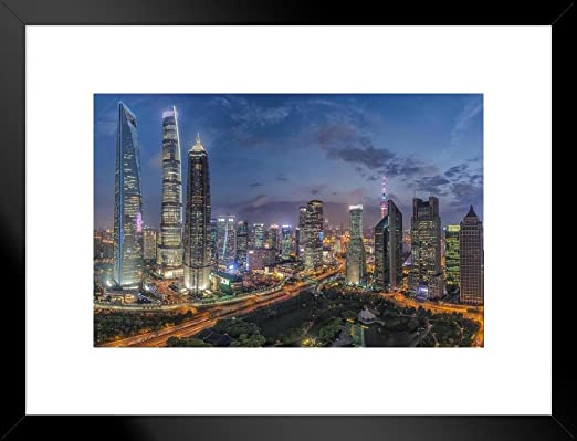 Amazon Com Lujiazui City Financial Center Downtown Buildings Shanghai China Photo Photograph Matted Framed Art Wall Decor 26x20 Posters Prints