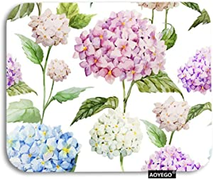 AOYEGO Floral Mouse Pad Hydrangea Flower Leaf Garden Flora in Spring Gaming Mousepad Rubber Large Pad Non-Slip for Computer Laptop Office Work Desk 9.5x7.9 Inch Purple Blue Green White