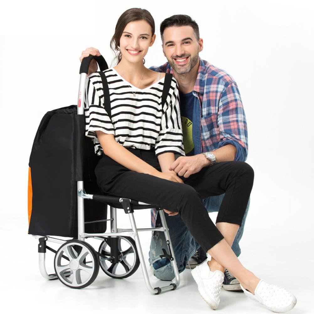 Amazon.com: MXXYY 55L Lightweight Shopping Trolley with Seat, Hard Wearing & Foldaway for Easy Storage: Industrial & Scientific